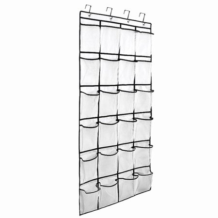 Over the Door Hanging Shoe Organizer, 24 Large Mesh Pockets Shoes .