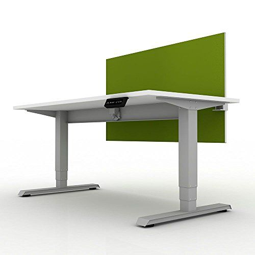 EZ Lift Compact Height Adjustable Desk with Privacy Screen - 48 .