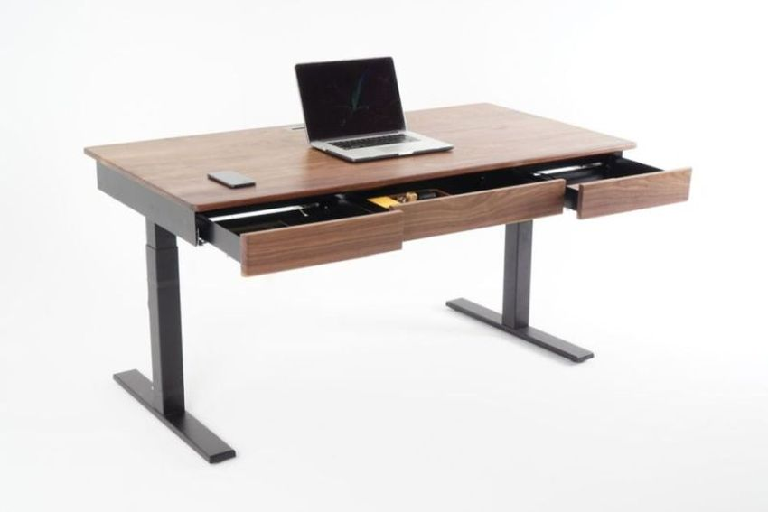 Woolsey Standing Desk with Three Drawers and Wireless Chargi