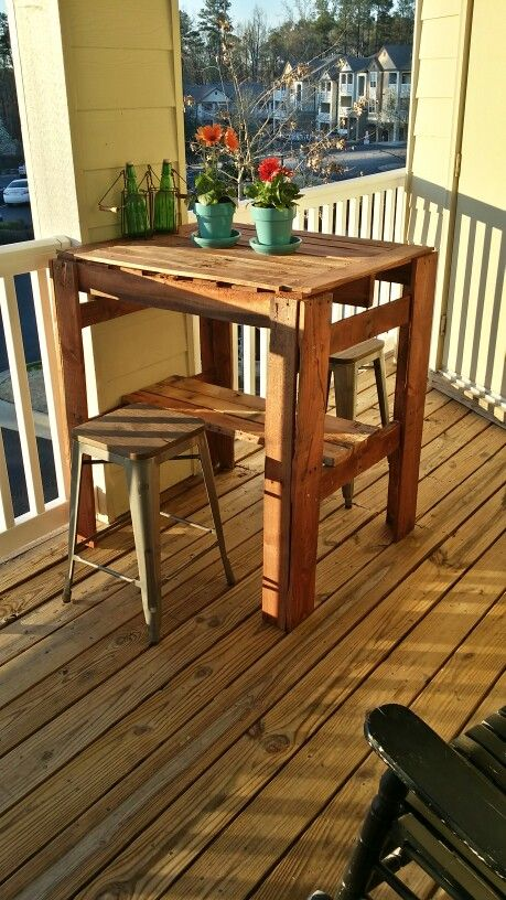 Wood pallet high top table | High table, Pub table, High top table .