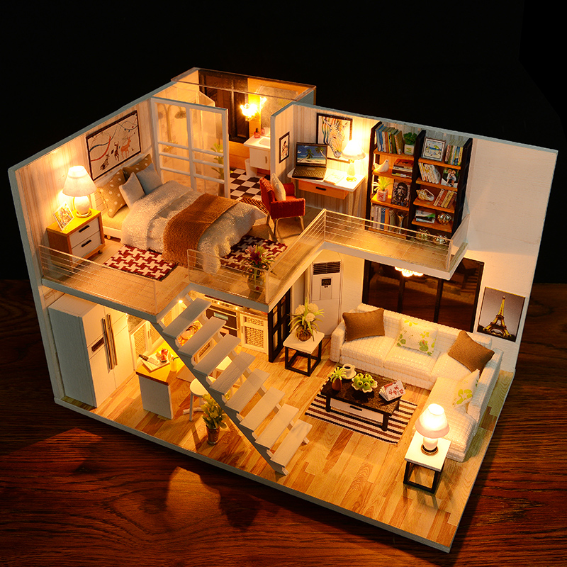DIY Miniature Craft with Furniture Wood House Home Decor Figurines .