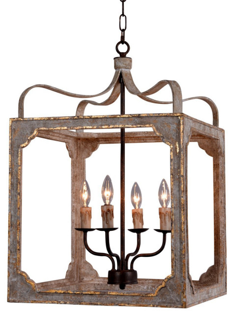 Nadia Small Chandelier without glass - Farmhouse - Chandeliers .