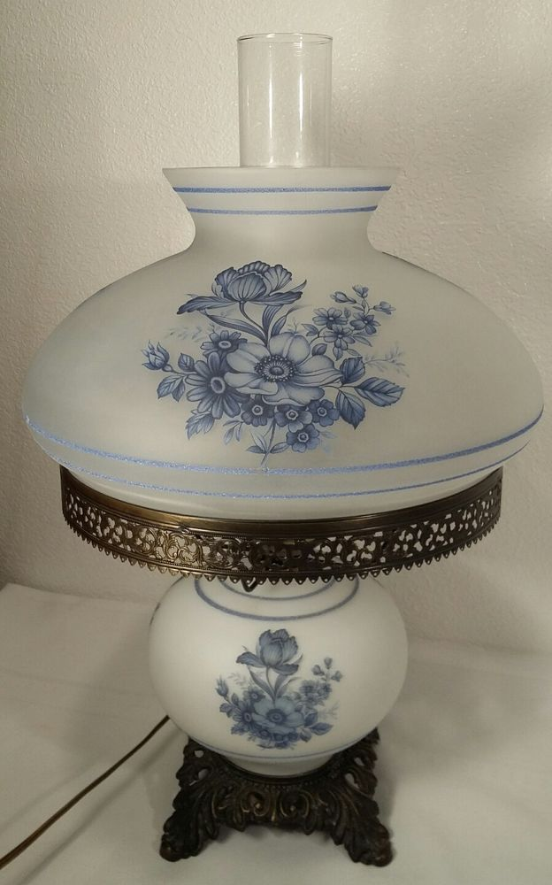 Blue Floral And White Satin Glass Gone With The Wind Style .