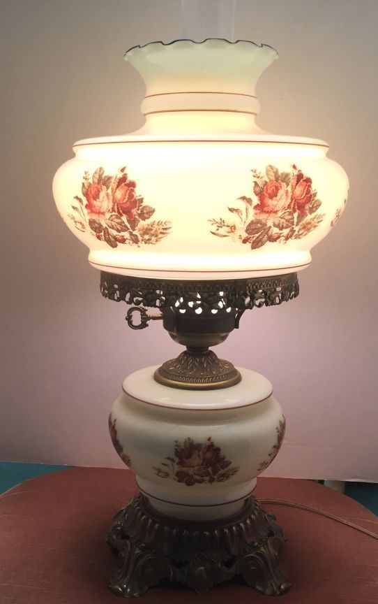 """VINTAGE 19"""" HURRICANE LAMP FLORAL MILK GLASS GONE WITH THE WIND ."""