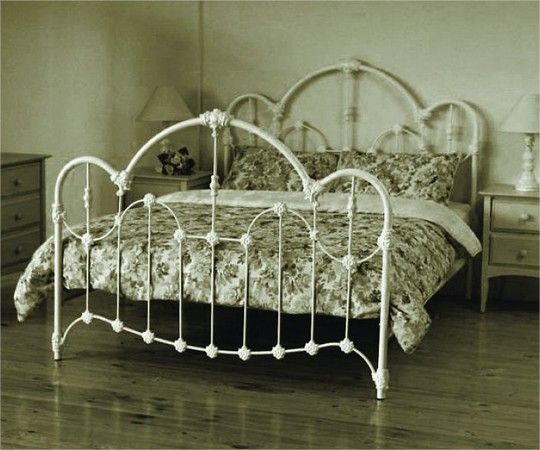 QUEEN NORMANDY BED - ANTIQUE WHITE | Iron bed frame, Iron bed .