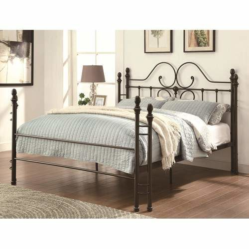 Iron Beds and Headboards Traditional-style Iron Queen Bed with .