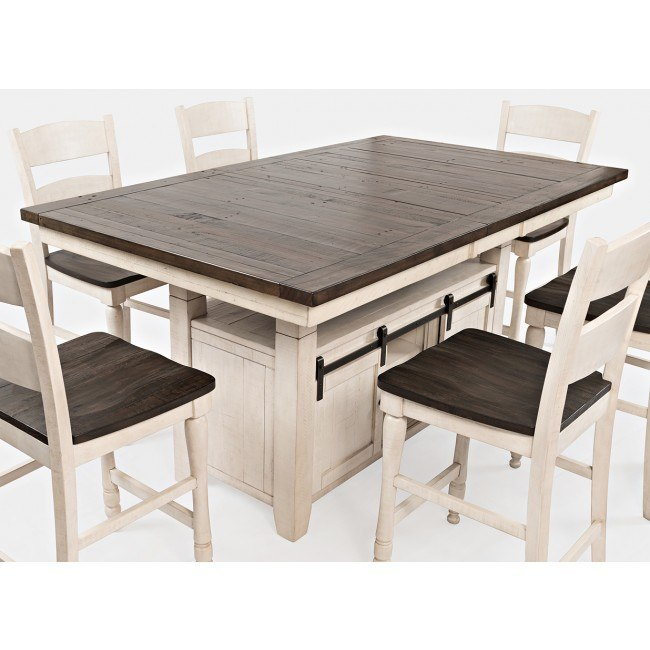 Madison County Adjustable Height Dining Table (Vintage White .