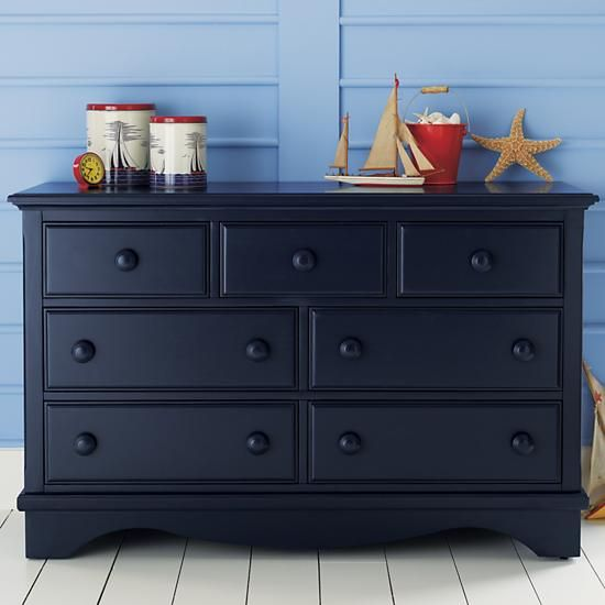 The Land of Nod | Kids' Dressers: Kids 7-Drawer Painted Dark Blue .