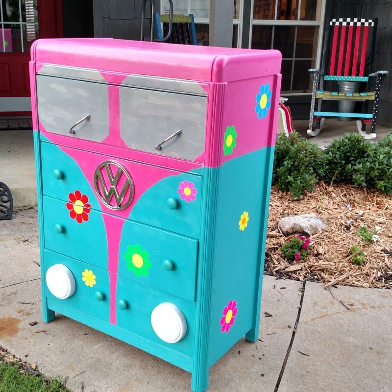 Whimsical hand painted children's dressers for boys and girls .