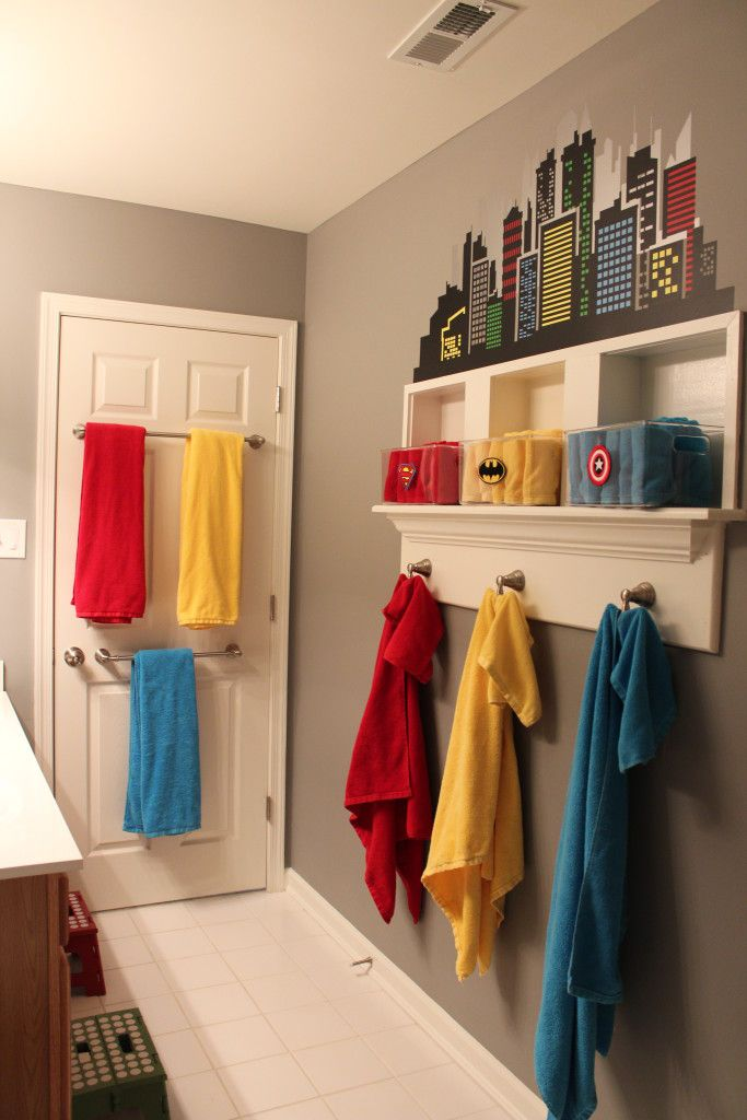 Super-hero Themed Boys Bathroom - love the mix of organization and .