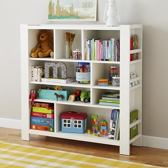 Kids' Bookcase: Kids White Compartment Cubby Bookcase in Bookcases .