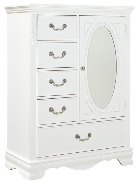 Standard Furniture Jessica 5-Drawer Kids' Wardrobe in White .