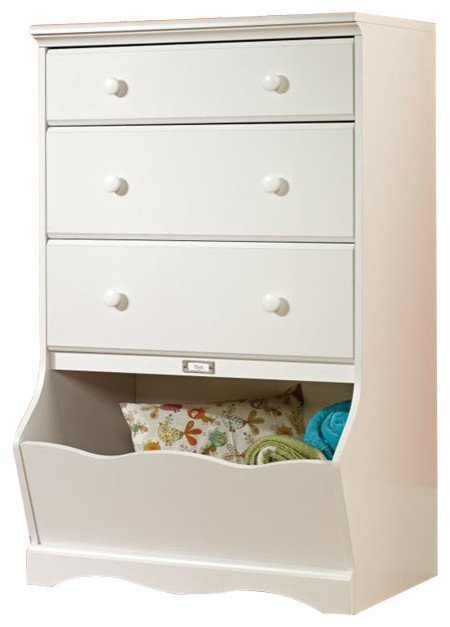 Sauder Pogo 3 Drawer Chest in Soft White Finish - Transitional .