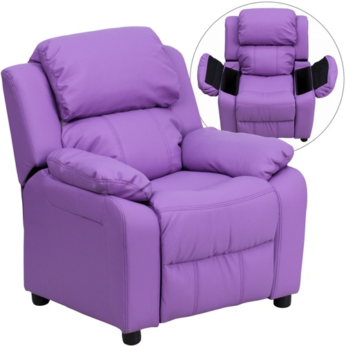 Kids Furniture - Deluxe Heavily Padded Contemporary Lavender Vinyl .
