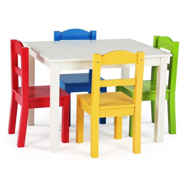 Tot Tutors Summit 5-Piece White/Primary Kids Table and Chair Set .