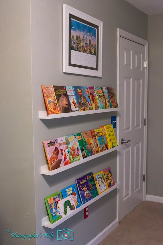 Ikea picture ledges for childrens front facing book shelves (With .