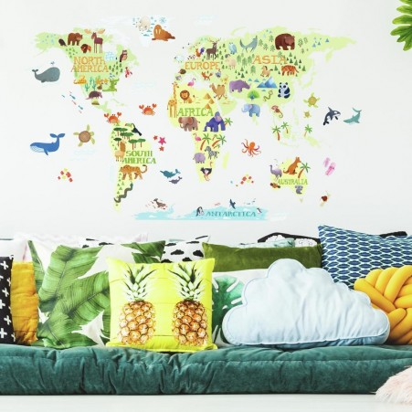 Kids World Map Peel and Stick Giant Wall Decals | RoomMat