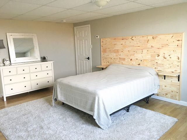 How to Build a Headboard with built-in Floating Nightstands | Diy .
