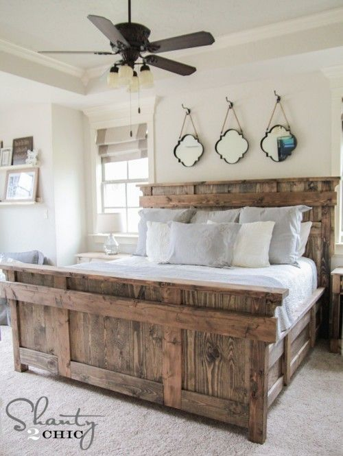 DIY King Size Bed Free Plans | Rustic bedroom design, Farmhouse .