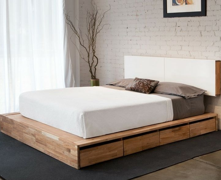 Queen Size Bed Frame Storage Double Drawers Underneath King .