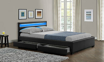 NEW Double King Size Bed Frame LED Headboard Night Light with .