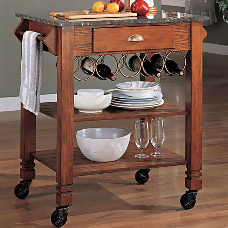 Oak Finish Kitchen Cart with Granite Top   Kitchen Islands and .