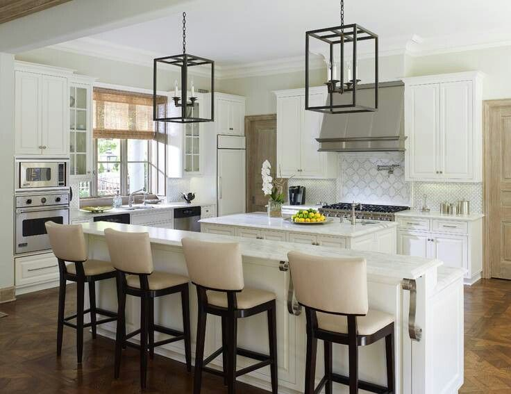 White kitchen○high chairs○long kitchen island | Chairs for .