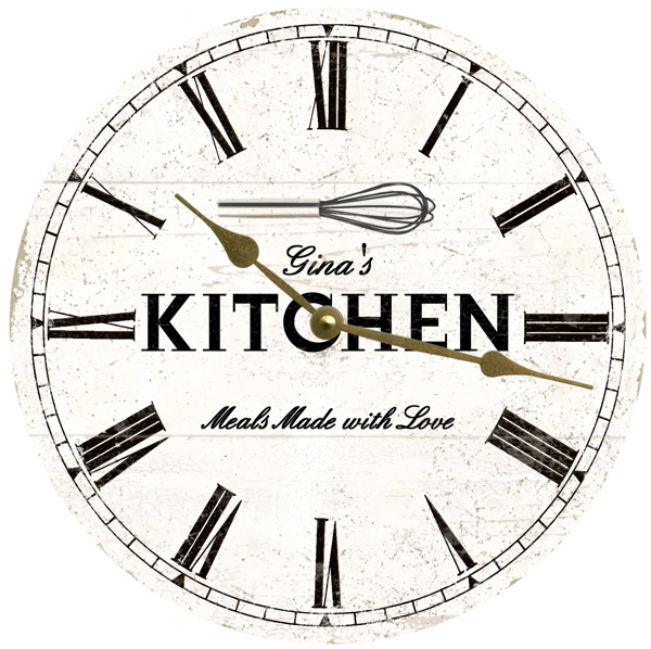 Personalized Kitchen Wall Clock- White Rustic Kitchen Clock – Time .