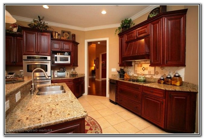 Paint Colors For Kitchens With Dark Wood Cabinets | Cherry wood .