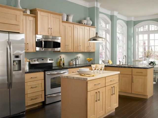 Captivating Light Wood Cabinets With Kitchen Color Schemes .