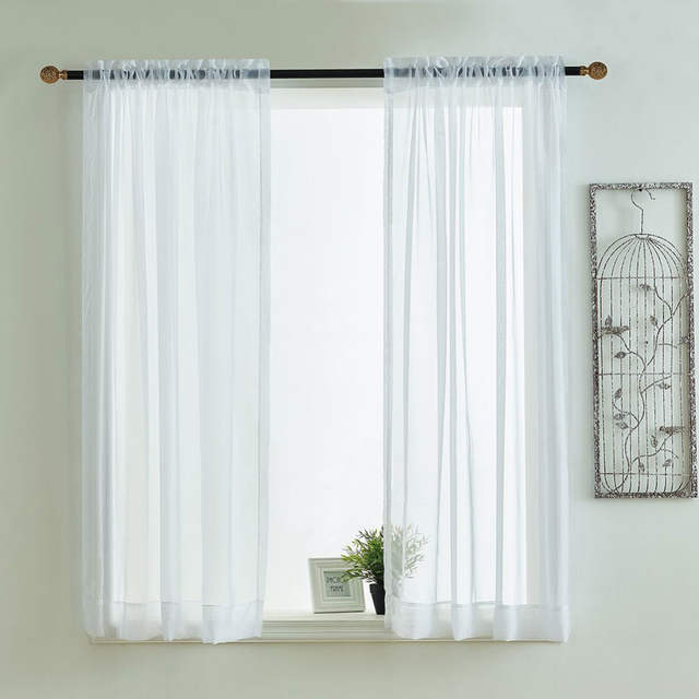Kitchen Curtains Valances Rod Pocket Decorative Elegant White Cafe .