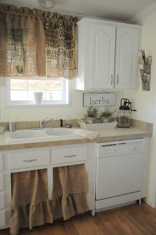 Burlap Kitchen Curtains ~ What a fab idea for a vintage country .