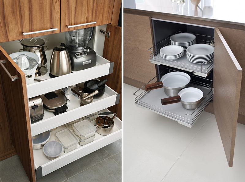 Kitchen Design Ideas - Pull-Out Drawers In Kitchen Cabine