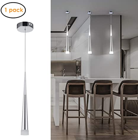 Amazon.com: Harchee Mini Modern Pendant Light in Silver Brushed .