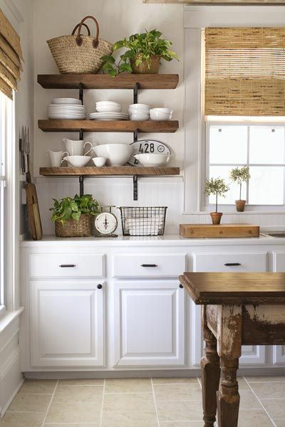 Farmhouse Kitchen Open Shelving Choices | The Happy Hous