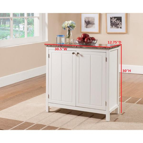 Kings Brand Furniture White with Marble Finish Top Kitchen Storage .