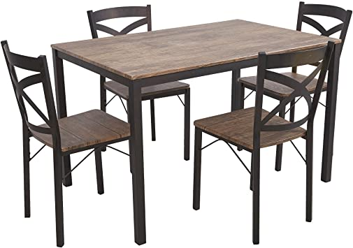 Amazon.com - Dporticus 5-Piece Dining Set Industrial Style Wooden .
