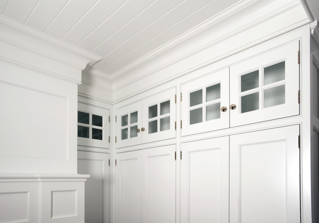 Traditional White Double-tiered Wall Cabinets - Traditional .