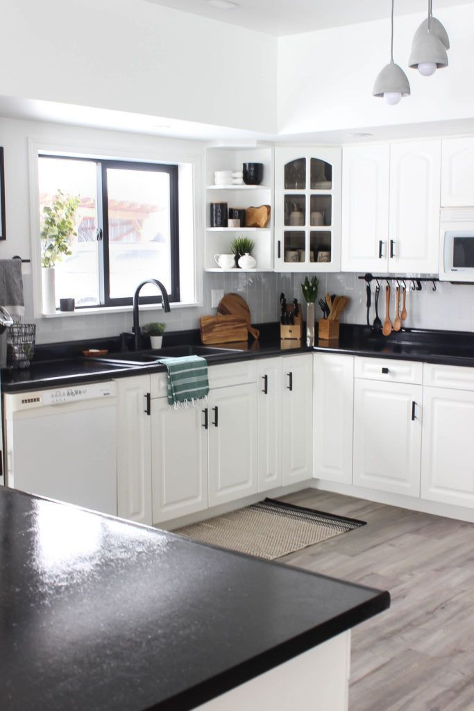 Our Weekend Renovation: A New Modern Kitchen | Black countertops .