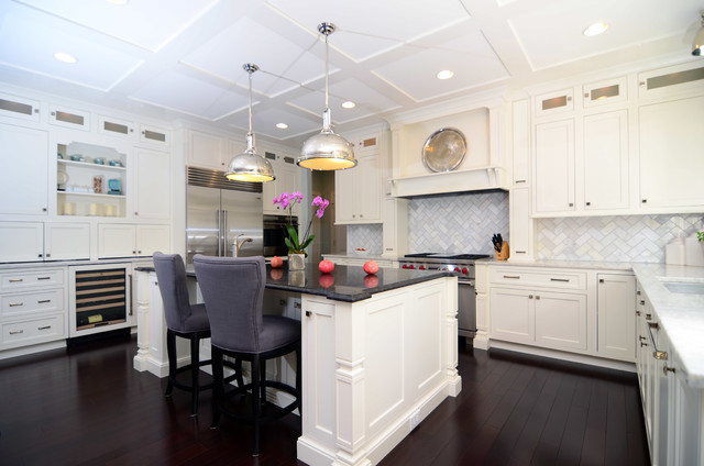 Open Plan Soft White Cabinets Contrasting Dark Floors .
