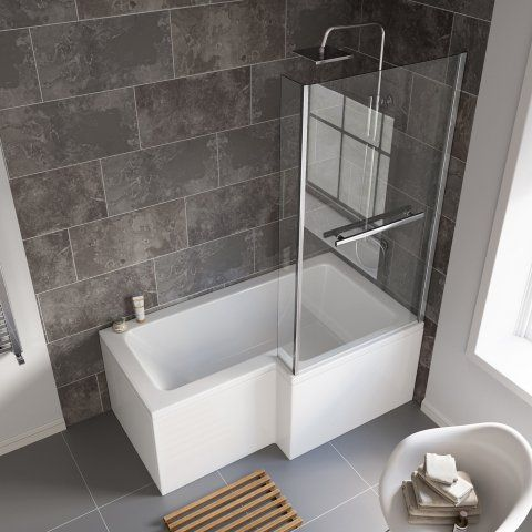 1500x850mm Right Hand L-Shaped Bath, 6mm Screen, Rail, Front & End .