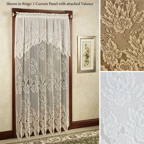 Easy Style Hallie Magnolia Lace Curtain Panel with Attached Valan