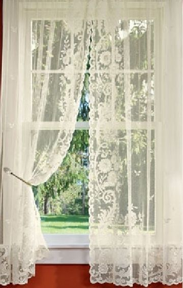 Floral Point Lace Rod Pocket Curtains - via Country Curtains .