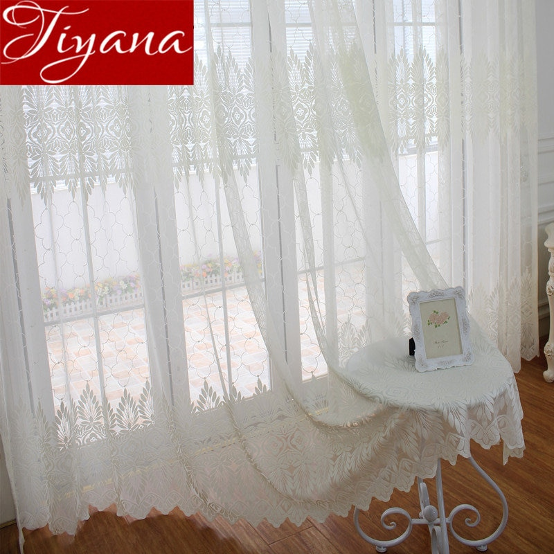 Lace Curtains for Modern Living Room Geometric Jacquard Tulle .