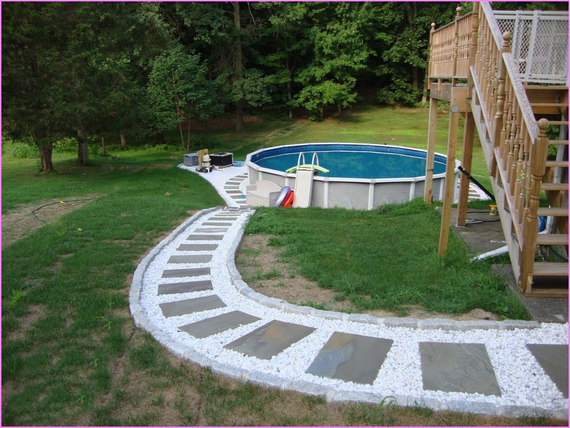 Backyard Above Ground Pool Landscaping Ideas Small With Landscape .