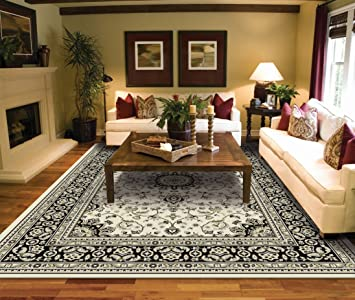 Amazon.com: Large Rugs for Living Room Ivory Traditional Clearance .