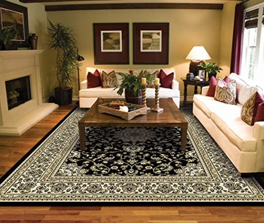 Amazon.com: Large Rugs for Living Room Black Traditional Oriental .