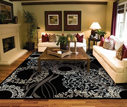 Amazon.com: Large Rugs for Living Room 8x10 Black Area Rugs 8x10 .