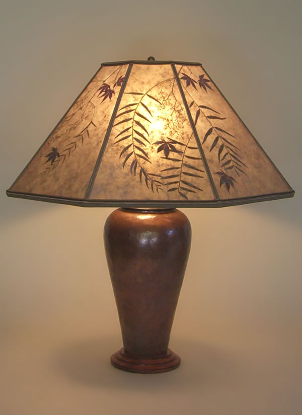 Large Copper table lamp Pepper & red maple leaves Mica Lamp Shade .