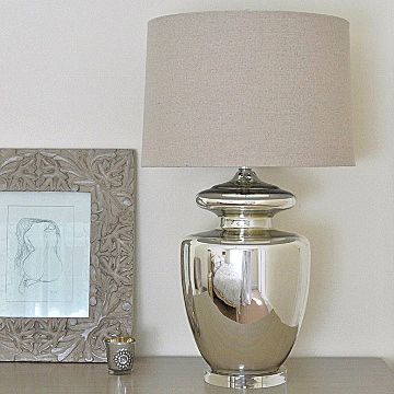 Large Silver Urn Glass Table Lamp & Natural Shade | Silver table .